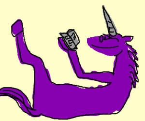 Unicorn with a book.